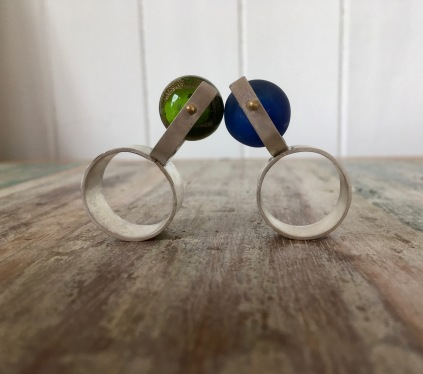 Sterling silver and glass spinner rings