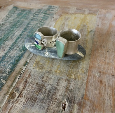 Two sterling silver and seaglass rings