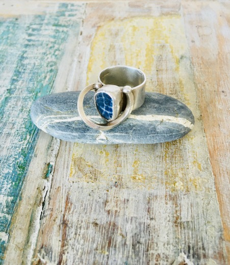 Sterling silver ring with found china