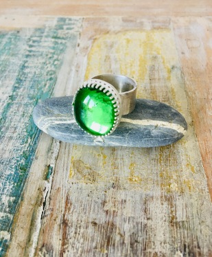 Sterling silver and glass ring