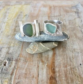 Sterling silver and seaglass rings